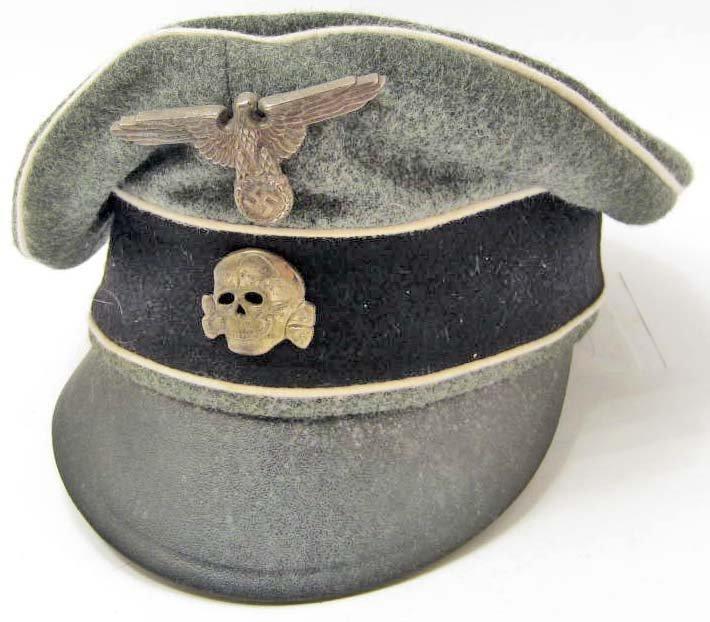 GERMAN NAZI WAFFEN SS INFANTRY EM CRUSHER VISOR CAP