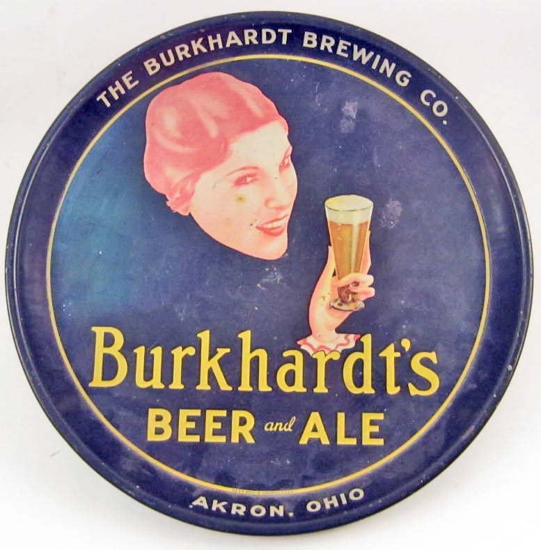 C. 1930'S BURKHARDT'S BEER AND ALE ADVERTISING TRAY