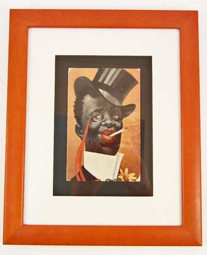 C. 1909 BLACK AMERICANA POSTCARD - FRAMED
