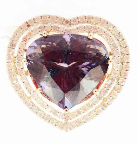 14K GOLD LADIES TANZANITE AND DIAMOND RING - SIZE 7