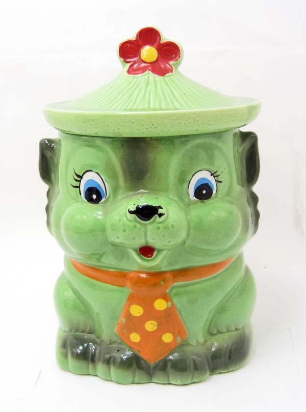 COOKIE JAR - VINTAGE GREEN CAT WITH TIE - MARKED JAPAN