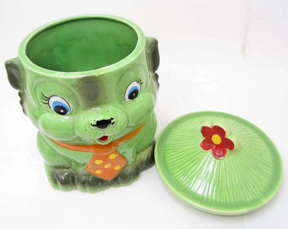 COOKIE JAR - VINTAGE GREEN CAT WITH TIE - MARKED JAPAN - 2