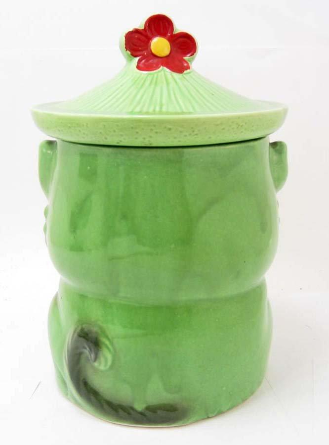 COOKIE JAR - VINTAGE GREEN CAT WITH TIE - MARKED JAPAN - 3