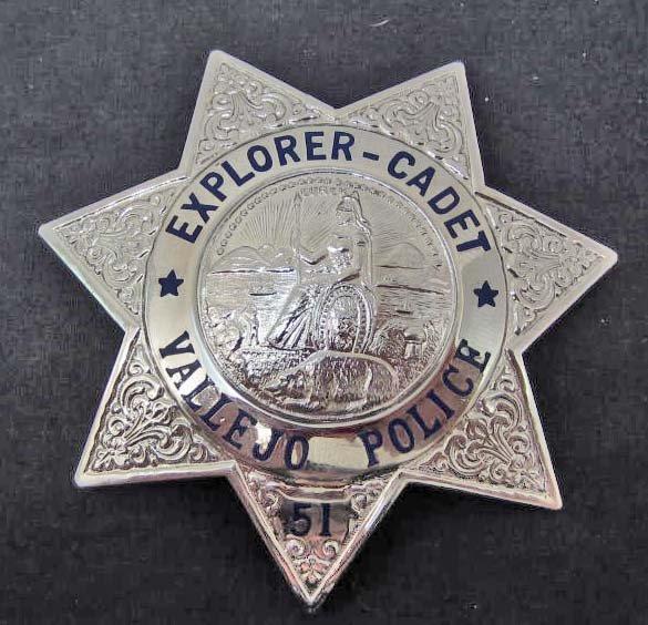 VINTAGE VALLEJO CA. POLICE EXPLORER CADET #51 LAW BADGE