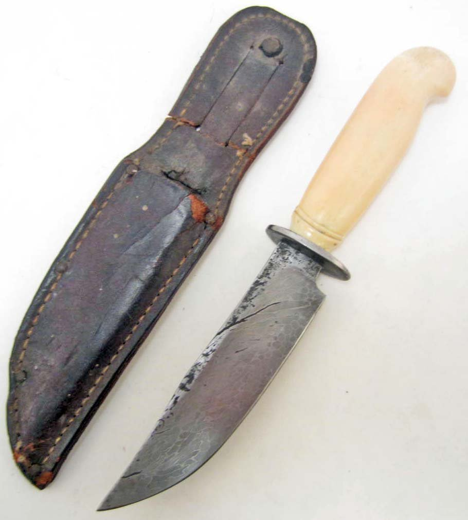 OLD WEST SKINNING BOWIE KNIFE W/ WALRUS TUSK HANDLE