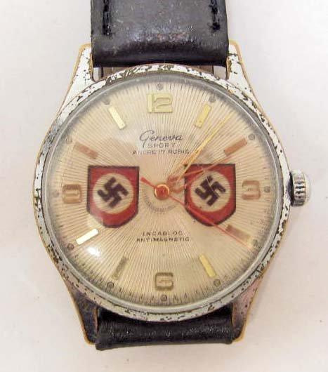 GERMAN NAZI WRIST WATCH W/ NEW BAND - 15 RUBIS