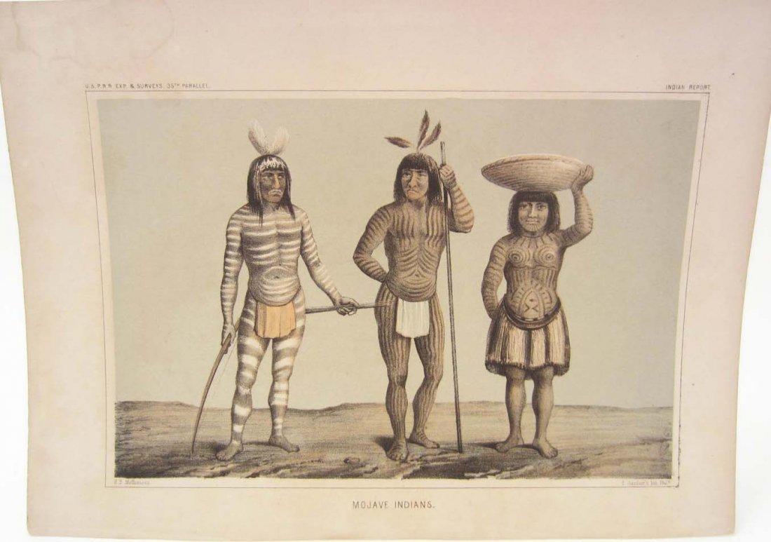 "ANTIQUE ""MOJAVE INDIANS"" USPRR SURVEY PRINT"