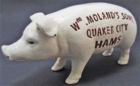 CAST IRON PIG QUAKER CITY HAMS ADVERTISING BANK