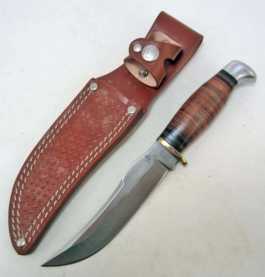 COLT BOWIE KNIFE W/ STACKED LEATHER HANDLE & SHEATH
