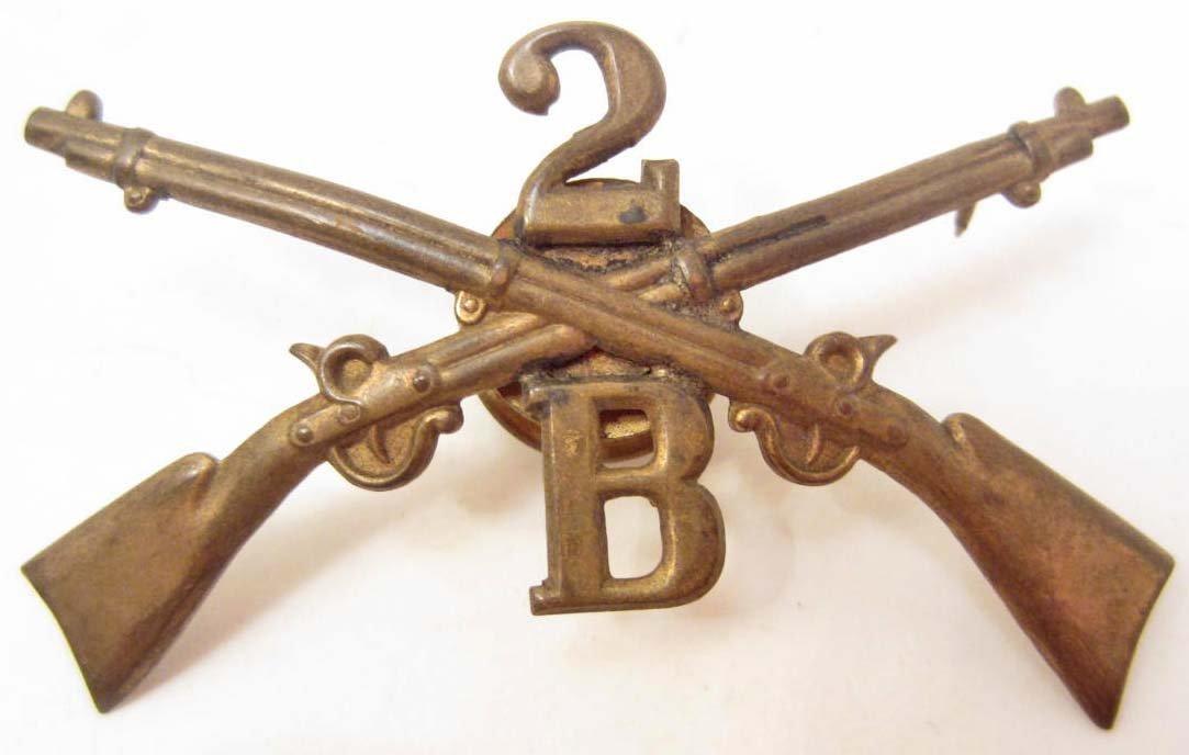 CIVIL WAR ERA 2ND INFANTRY COMPANY B CAP INSIGNIA