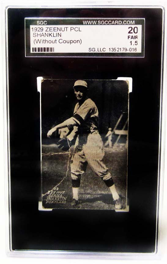 1929 ZEENUT PCL SHANKLIN BASEBALL CARD - SGC 20 FAIR
