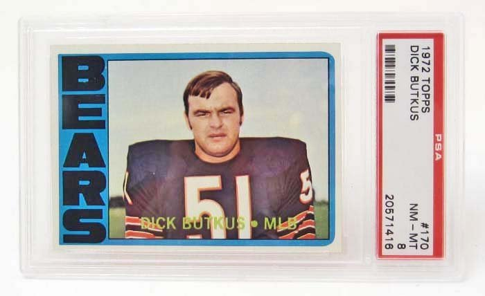 1972 TOPPS DICK BUTKUS #170 FOOTBALL CARD - PSA NM-MT 8