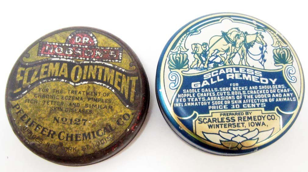 LOT OF 2 VINTAGE VETERINARY MEDICINE ADVERTISING TINS