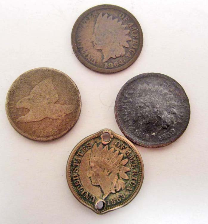LOT OF 4 ANTIQUE COINS - FLYING EAGLE & INDIAN HEAD