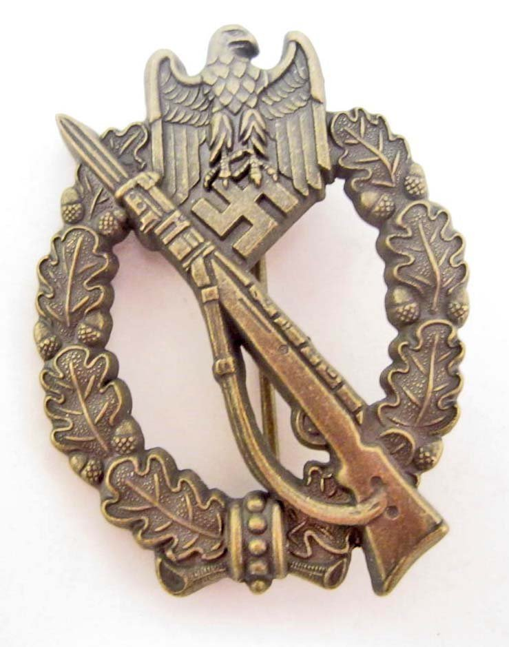 GERMAN NAZI ARMY BRONZE INFANTRY ASSAULT BADGE