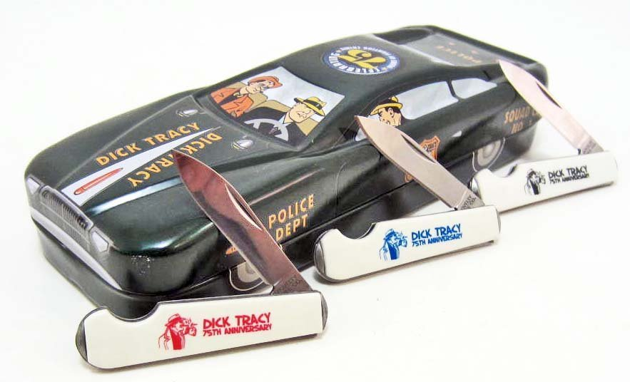 DICK TRACY 75TH ANNIVERSARY KNIFE SET IN CAR TIN