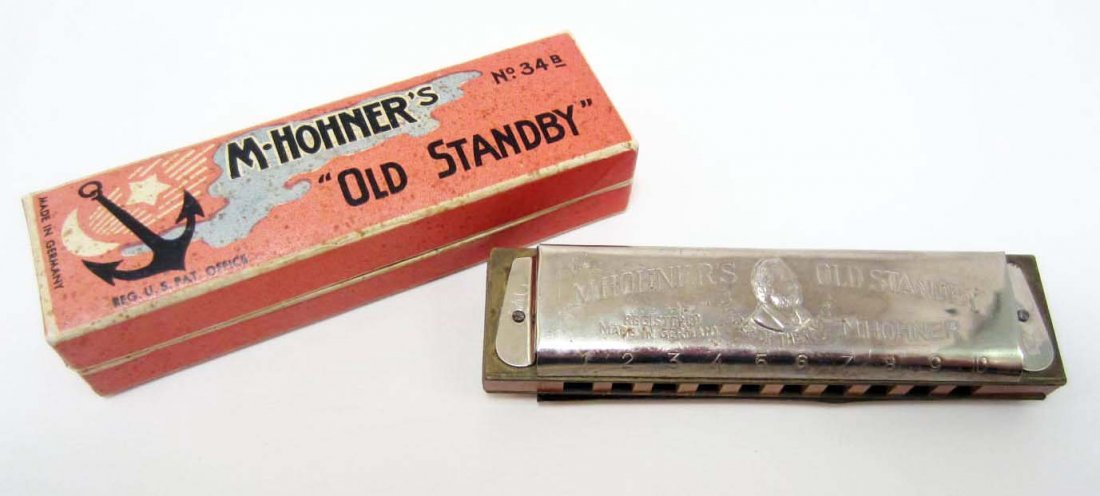 VINTAGE M HOHNER'S OLD STANDBY HARMONICA IN ORIG. BOX