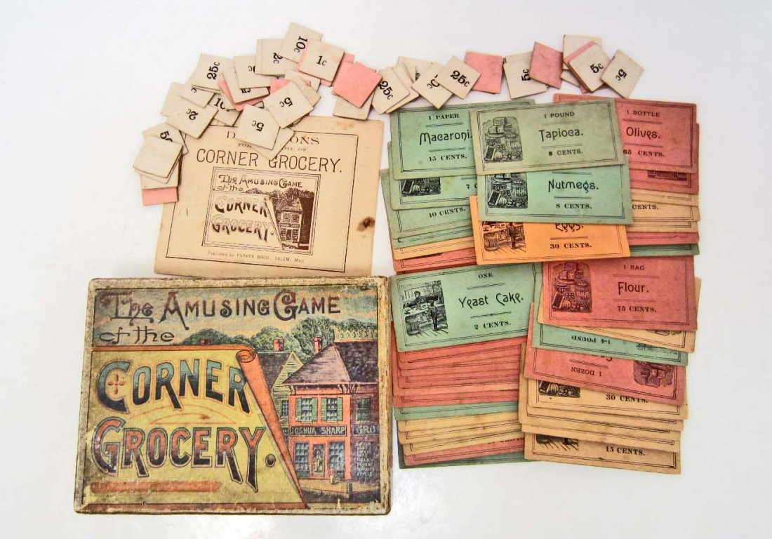 1887 THE AMUSING GAME OF THE CORNER GROCERY GAME