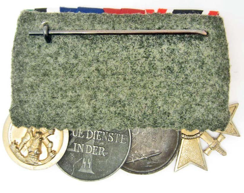 GERMAN NAZI WAFFEN SS PARADE MOUNT MEDAL BAR - 2