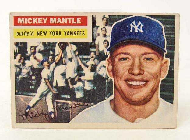 Rare 1956 Topps Mickey Mantle 135 Baseball Card On Liveauctioneers