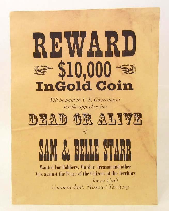 WESTERN REWARD DEAD OR ALIVE SAM & BELLE STARR  POSTER
