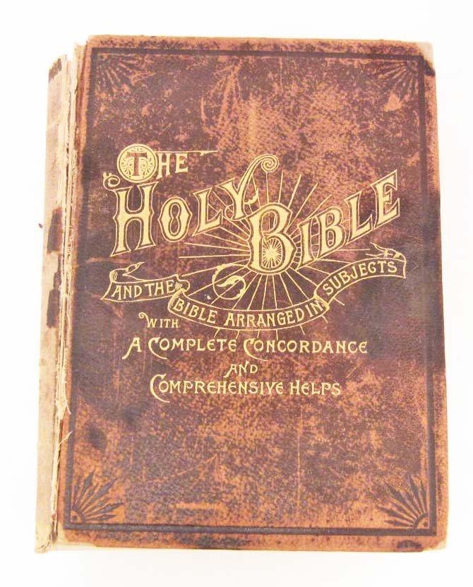 """1893 CIVIL WAR ERA """"HOLY BIBLE"""" LARGE HARDCOVER"""