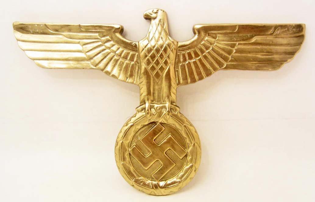 GERMAN NAZI THIRD REICH BRONZE EAGLE & SWASTIKA PLAQUE