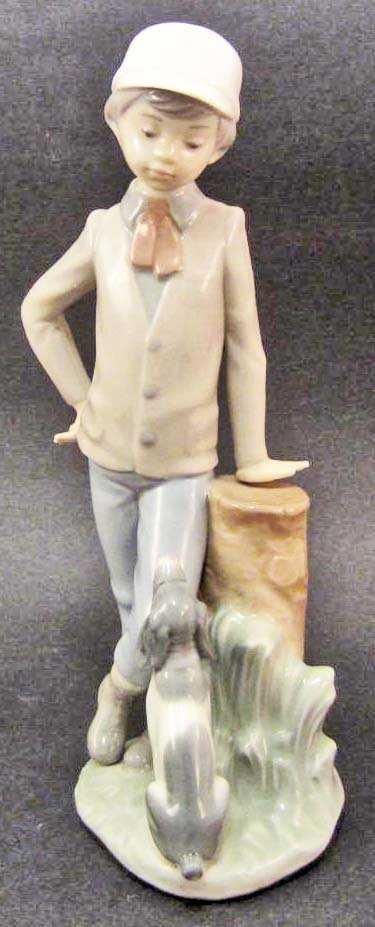 Vintage Lladro Nao Boy With Dog Figurine