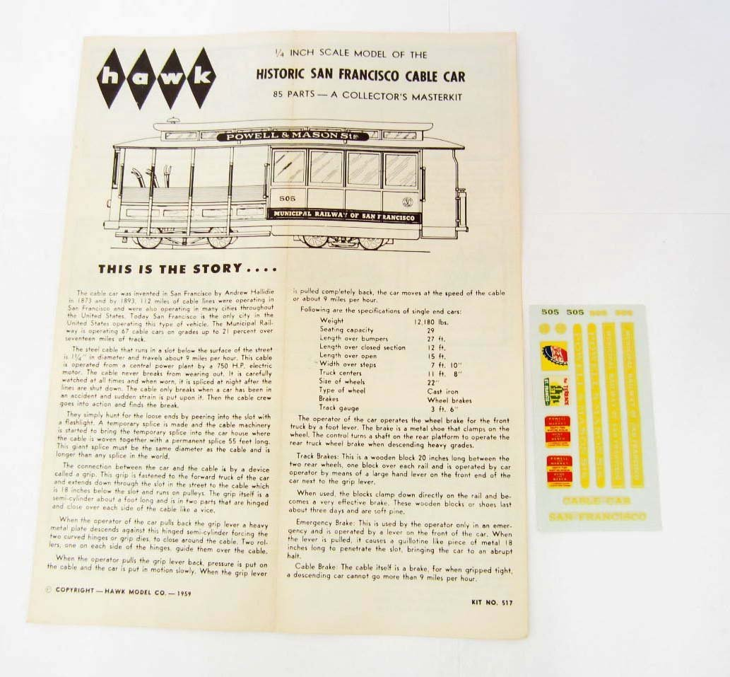 VINTAGE 1967 HAWK SAN FRANCISCO CABLE CAR MODEL KIT - 3