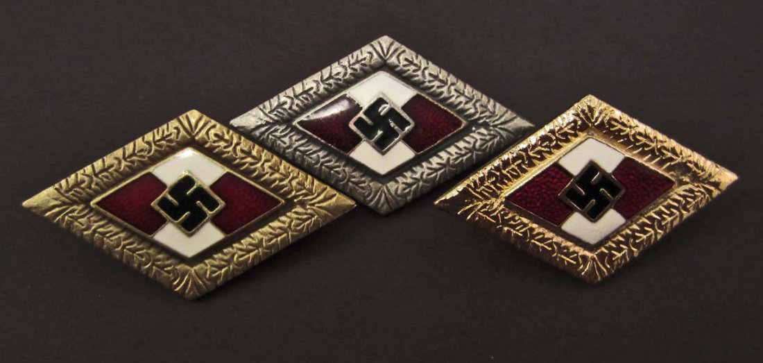LOT OF 3 GERMAN NAZI HITLER YOUTH BADGES - GOLD, SILVER