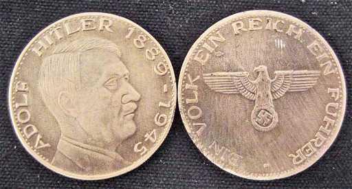 Nazi Germany Adolf Hitler 1889 1945 Eagle Swastika Coin