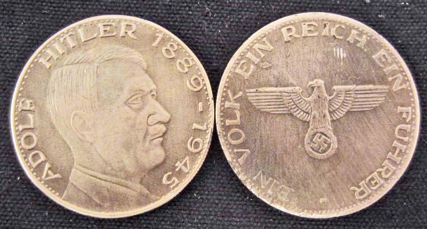 NAZI GERMANY ADOLF HITLER 1889-1945 EAGLE SWASTIKA COIN