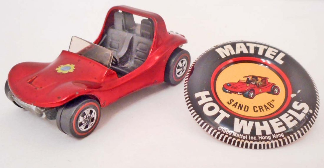 VINTAGE HOT WHEELS RED LINE SAND CRAB RUBY RED CAR W/