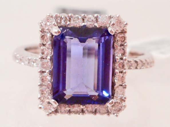 14KT WHITE GOLD LADIES TANZANITE & DIAMOND RING  W/