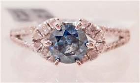 14KT WHITE GOLD LADIES BLUE DIAMOND RING W APPRAISAL