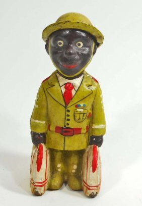 Cast Iron Black Americana Business Man Figural Still