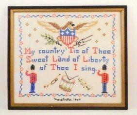 1964 Cross Stitch Sampler - Framed