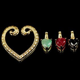 Sterling Silver Emerald, Ruby & Sapphire Pendant