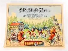 VINTAGE OLD STYLE BREW BEER BOTTLE ADVERTISING LABEL