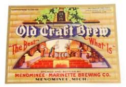 VINTAGE OLD CRAFT BREW BEER BOTTLE ADVERTISING LABEL