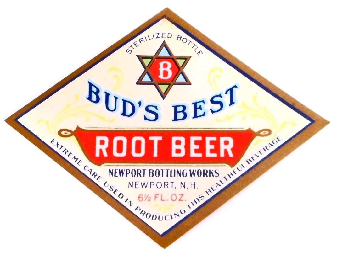 VINTAGE BUDS BEST ROOT BEER ADVERTISING BOTTLE LABEL
