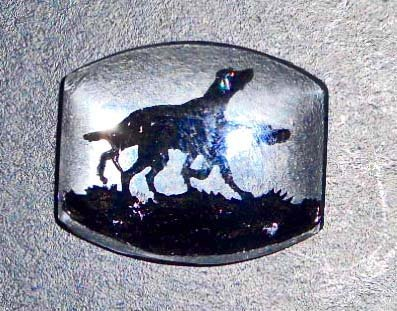 VINTAGE REVERSE PAINTED HUNTING DOGS GLASS INTAGLIO