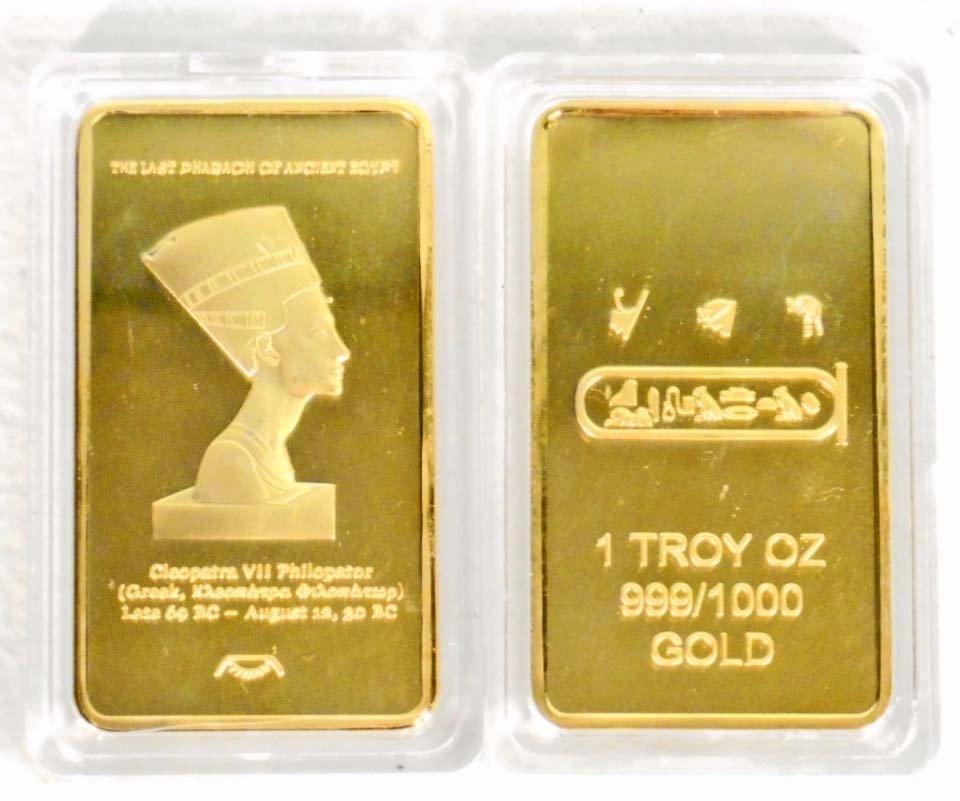 GOLD CLEOPATRA COMMEMORATIVE COIN / BAR