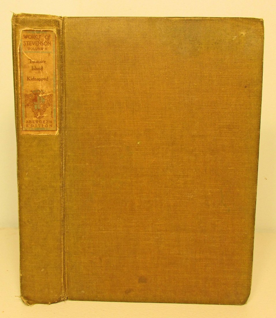 """1908 """"TREASURE ISLAND AND KIDNAPPED"""" HARDCOVER BOOK"""