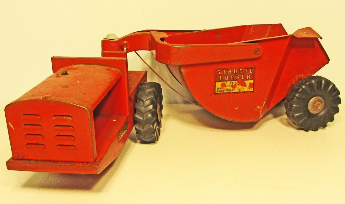 VINTAGE 1950S STRUCTO TOYS RED TRACTOR TRUCK AND ROCKER
