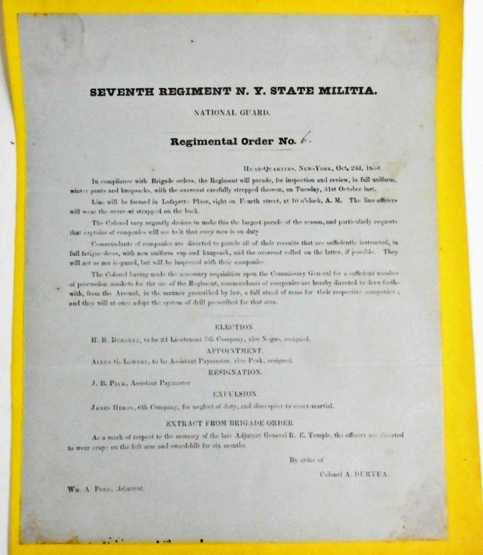 1854 ANTIQUE SEVENTH REGIMENTAL ORDER NO.6