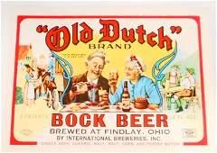 VINTAGE OLD DUTCH BOCK BEER BOTTLE ADVERTISING LABEL