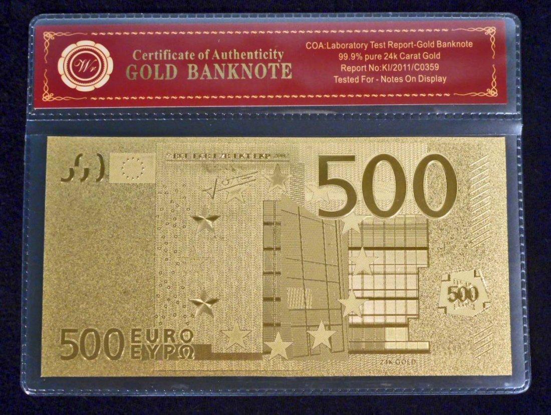 99.9% 24K GOLD 500 EURO BANKNOTE W/ COA