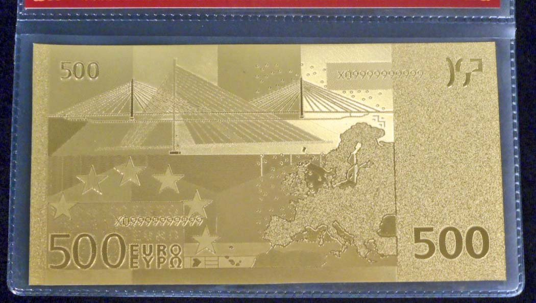 99.9% 24K GOLD 500 EURO BANKNOTE W/COA - 2