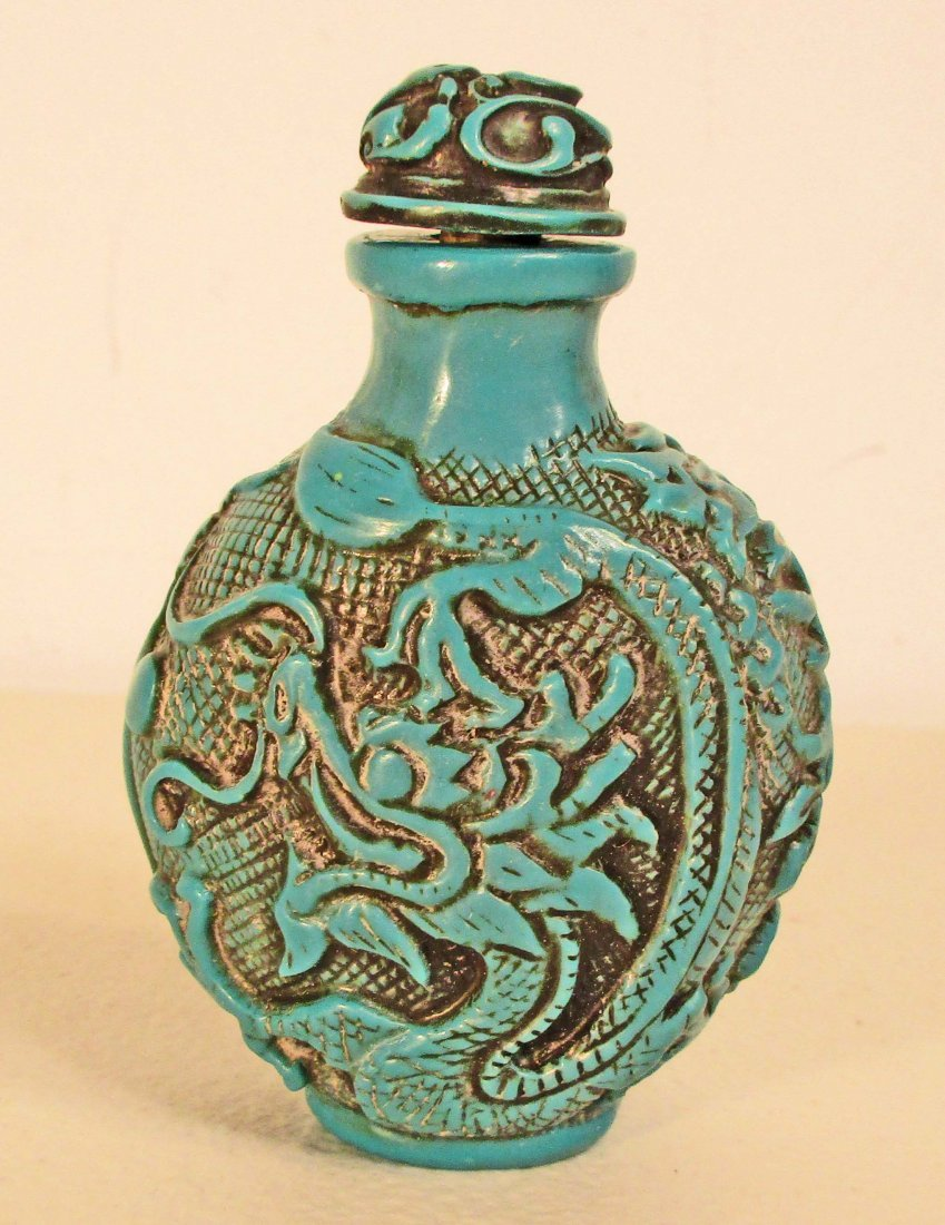 HANDCARVED BIRD CORAL RED OLD CHINA SNUFF BOTTLE